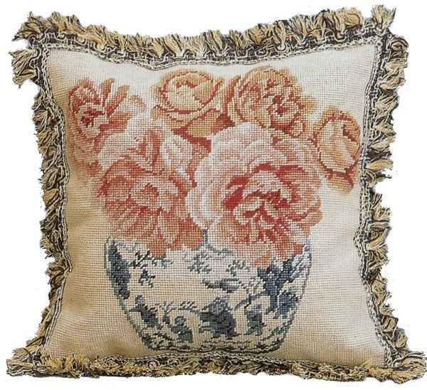 "AA- Pink Flowers in Vase - 18 x 18 "" needlepoint pillow"