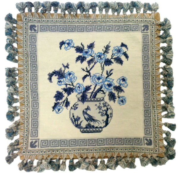 Blue Bouquet - Needlepoint Pillow 18xx18