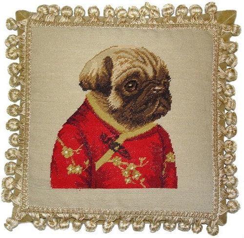 Pug in Red Facing Right - 12 x 12 in. needlepoint pillow