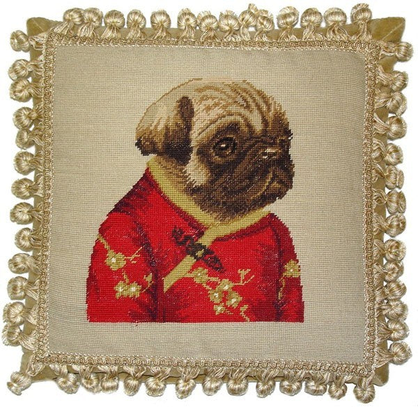 "AA- Pug in Red Facing Right - 12 x 12 "" needlepoint pillow"