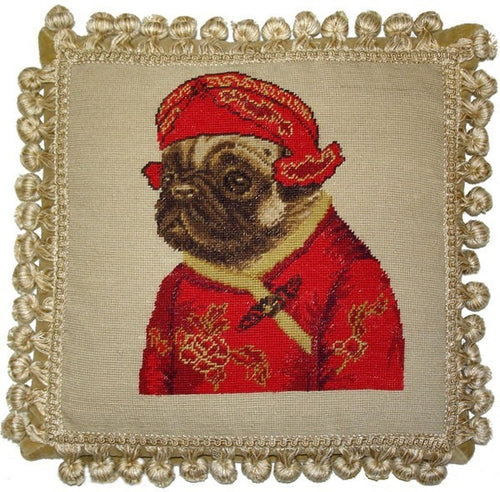 Pug in Red Facing Left - 12 x 12 in. needlepoint pillow