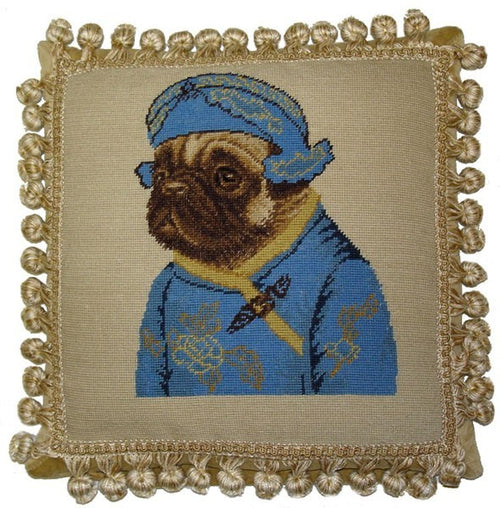 Pug in Blue Facing Left - 12 x 12 in. needlepoint pillow