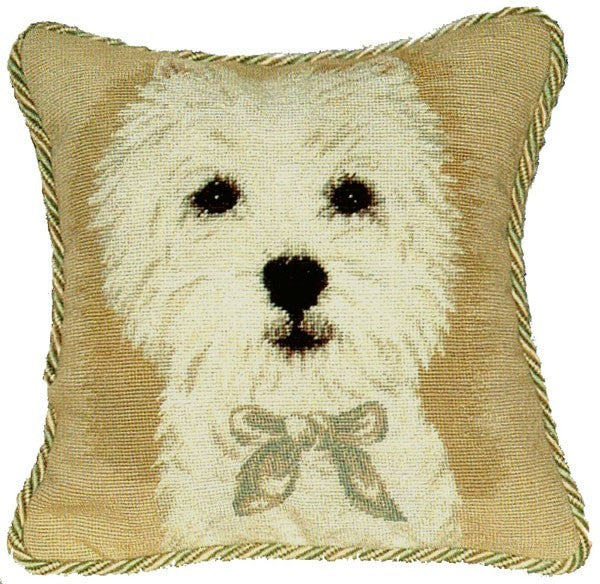 "AA- Westie - 12 x 12 "" needlepoint pillow"
