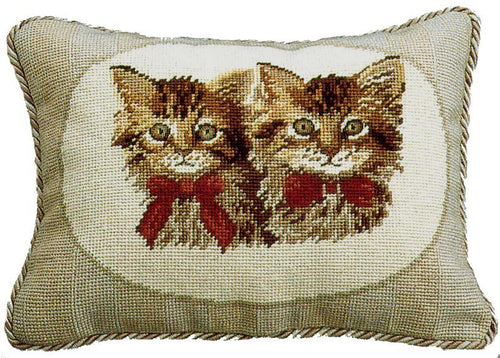Two Brown Kittens - 11 x 15 in. needlepoint pillow