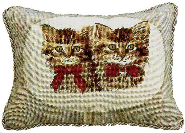 "AA- Two Brown Kittens - 11 x 15 "" needlepoint pillow"