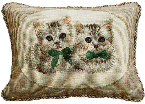 Two White Kittens - 11 x 15 in. needlepoint pillow