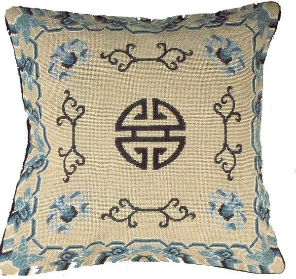 "Zhou - 16 x 16 "" needlepoint pillow"