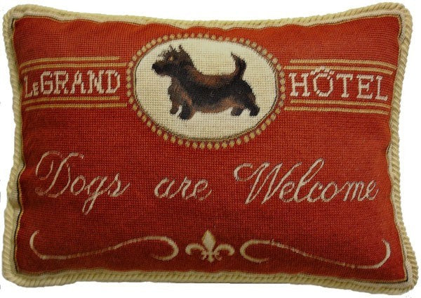 "Dogs are Welcome - 13 x 19 "" needlepoint pillow"