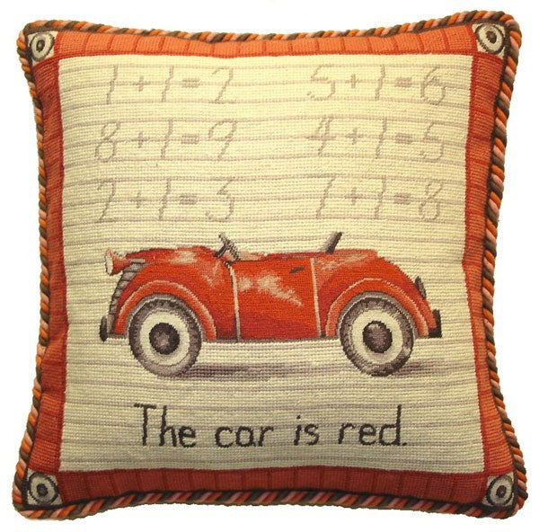 "AA- Red Car - 17 x 17 "" needlepoint pillow"