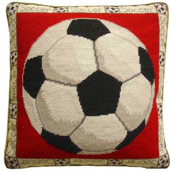 "Scoccerball - 16 x 16 "" needlepoint pillow"