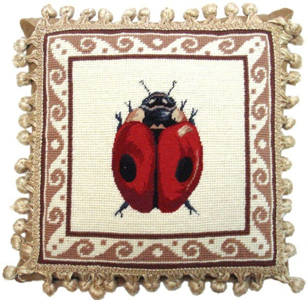 "Lady Bug - 12 x 12 "" needlepoint pillow"