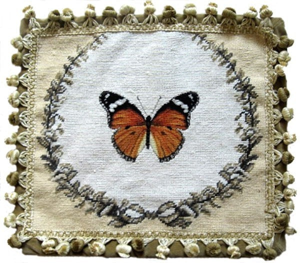"Orange Butterfly - 14 x 16 "" needlepoint pillow"