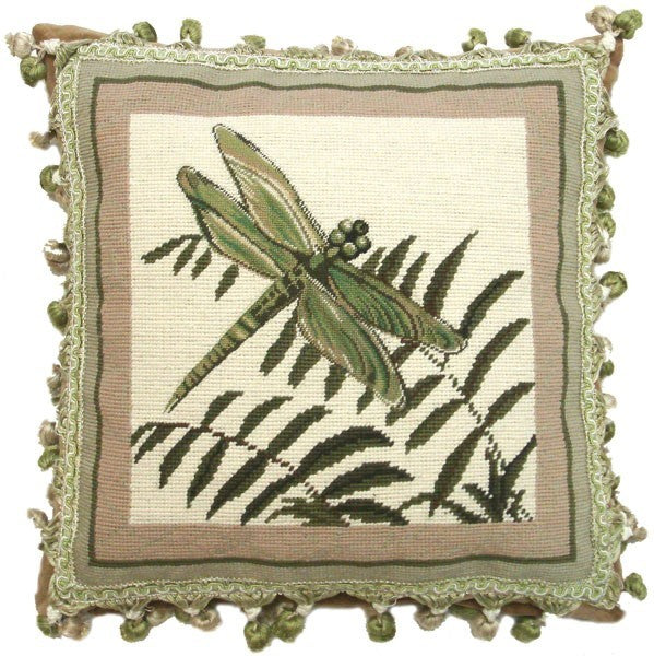 Dragonfly in Flight - 16 x 16 needlepoint pillow