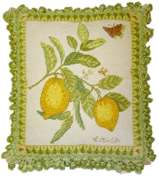 "Lemons - 19 x 17 "" needlepoint pillow"
