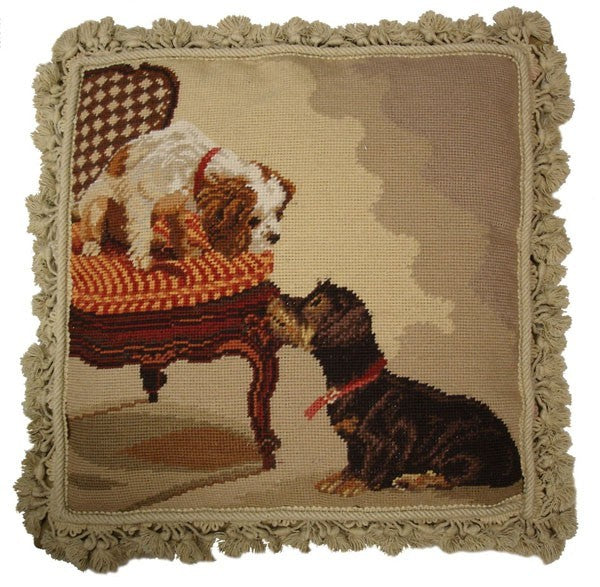 "AA- Two Dogs - 18 x 18 "" needlepoint pillow"