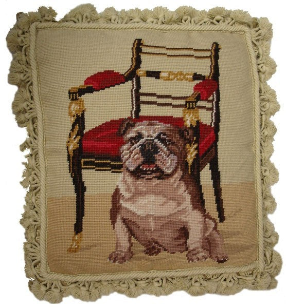 "Dog and Chair - 18 x 16 "" needlepoint pillow"