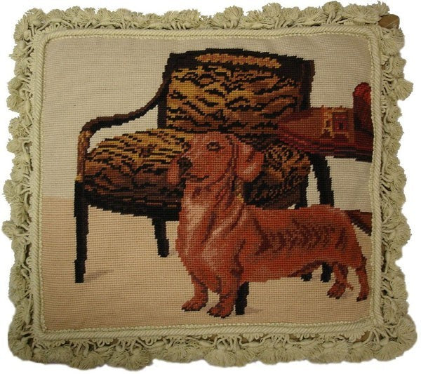"Weiner Dog and Chair - 16 x 18 "" needlepoint pillow"
