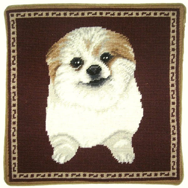"Bichon - 13 x 13 "" needlepoint pillow"