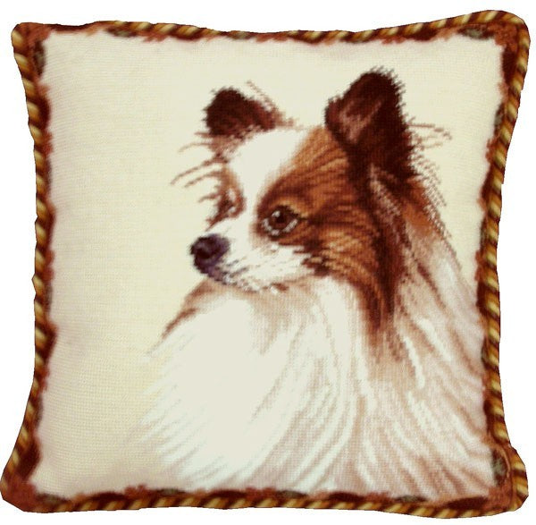 "Papilon - 17 x 17 "" needlepoint pillow"