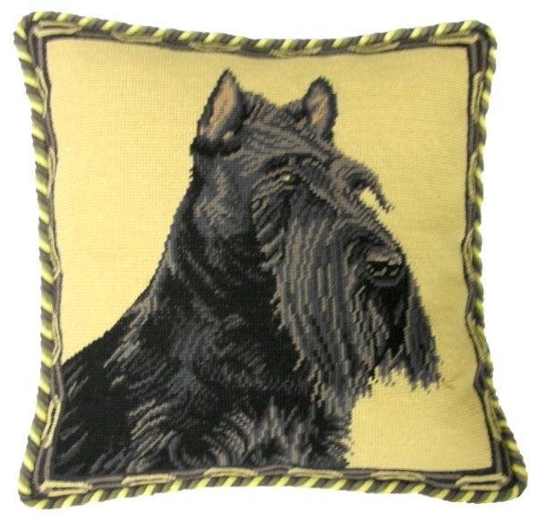 "AA- Scottie - 17 x 17 "" needlepoint pillow"