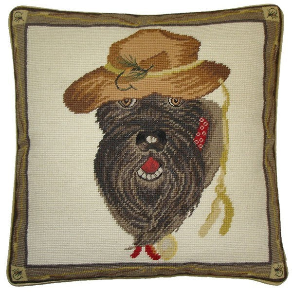 "AA- Schnauzer - 17 x 17 "" needlepoint pillow"