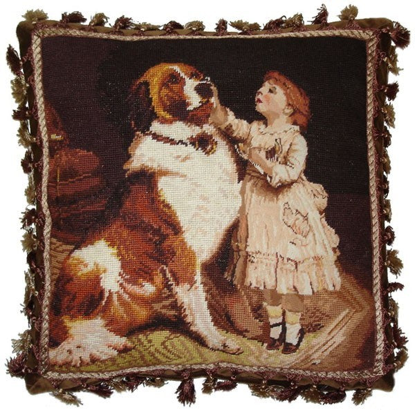 "Child and St. Bernard - 18 x 18 "" needlepoint pillow"