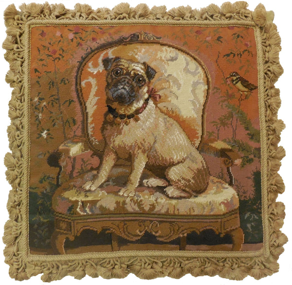 Dog on Chair II - Needlepoint Pillow 20x20