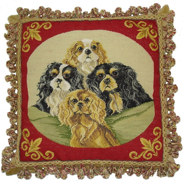 AA- Portrait of Four Dogs - Needlepoint Pillow 18x18
