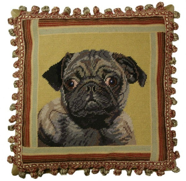 "Black Pug - 16 x 16 "" needlepoint pillow"