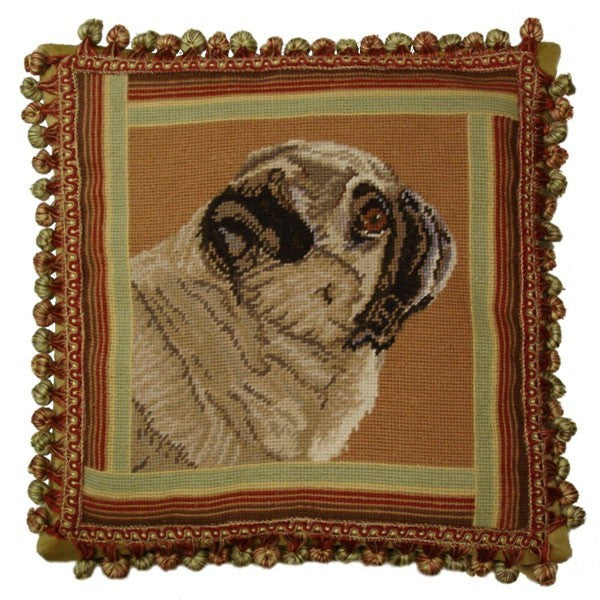 "Pug from side - 16 x 16 "" needlepoint pillow"