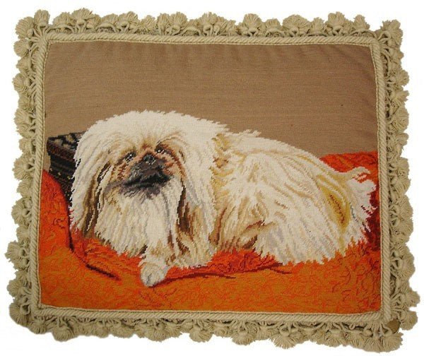 "Pekiness - 16 x 20 "" needlepoint pillow"