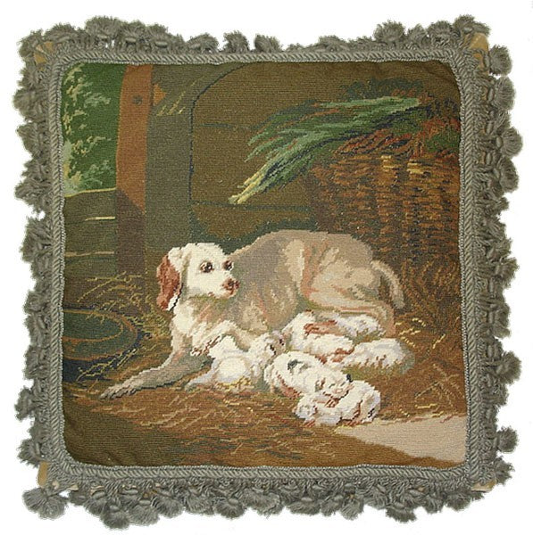 "Dog and Pups - 16 x 16 "" needlepoint pillow"