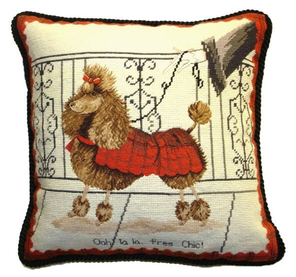 "Fancy Poodle - 17 x 17 "" needlepoint pillow"