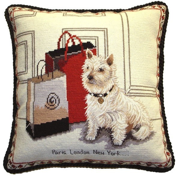 "AA- Westie Shopping - 17 x 17 "" needlepoint pillow"
