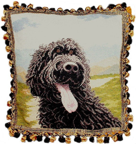 "Laughing Dog - 16 x 16 "" needlepoint pillow"