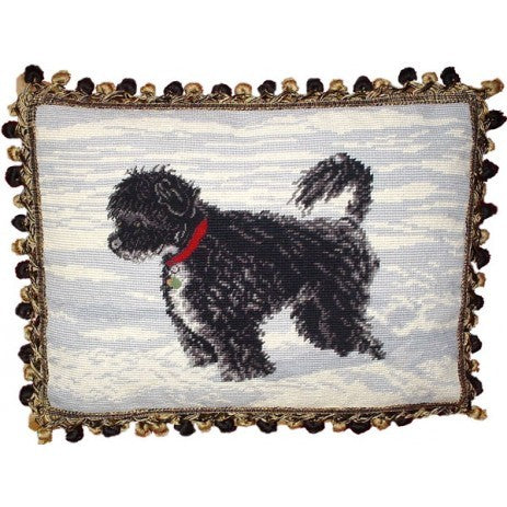 "Dog in Snow - 14 x 18 "" needlepoint pillow"