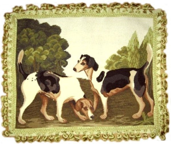 "AA- Two Dogs - 18 x 22 "" needlepoint pillow"
