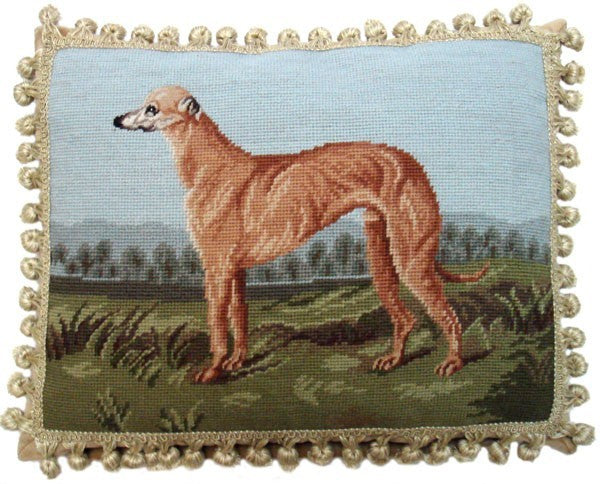 "Greyhound - 14 x 18 "" needlepoint pillow"