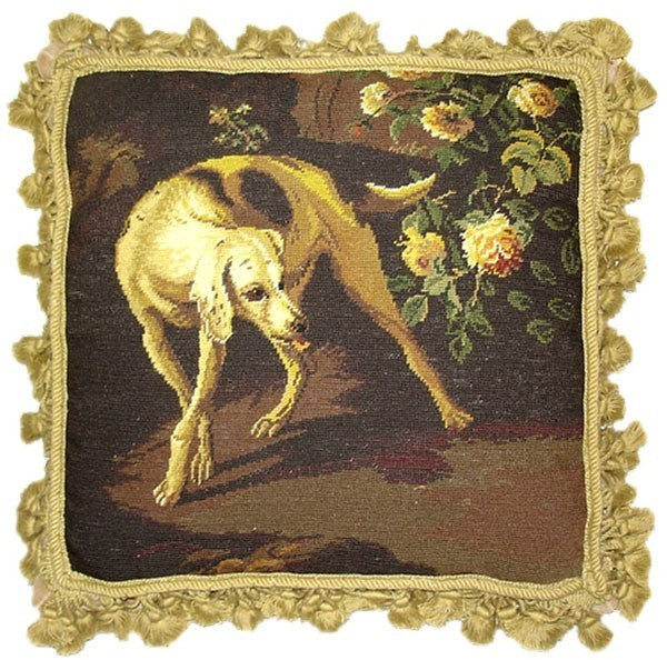 "Dog and Rose - 16 x 16 "" needlepoint pillow"