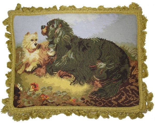 "Dogs Playing - 14 x 18 "" needlepoint pillow"