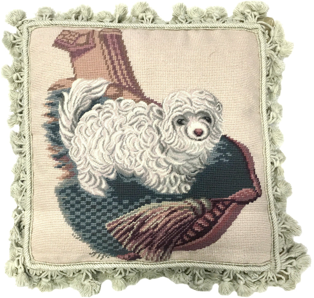 AA- White Dog - Needlepoint Pillow 16x16
