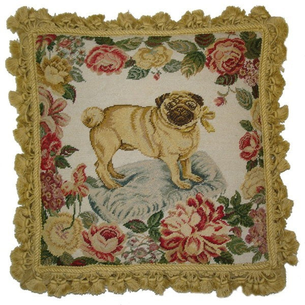 "AA- Pug and Bow - 18 x 18 "" needlepoint pillow"