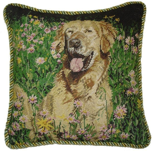 "AA- Happy Dog - 16 x 16 "" needlepoint pillow"
