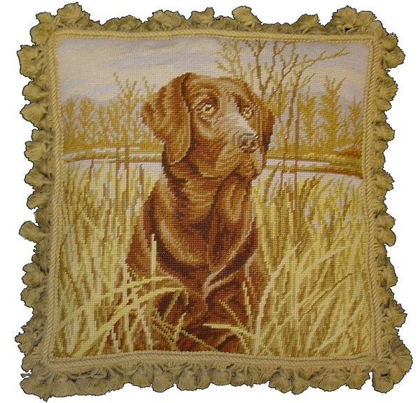 "Dog in Grass - 18 x 18 "" needlepoint pillow"