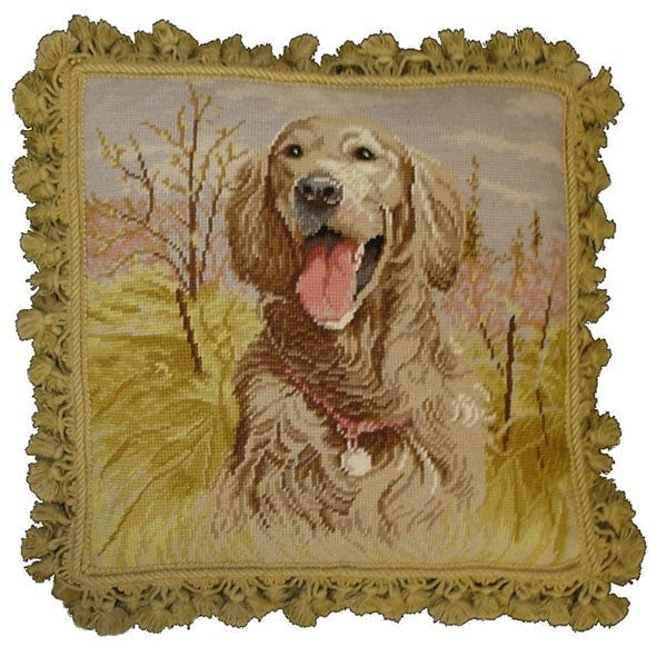 "Laughing Dog - 18 x 18 "" needlepoint pillow"