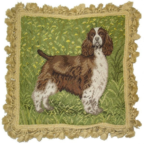 "AA- Spaniel on Grass - 16 x 16 "" needlepoint pillow"