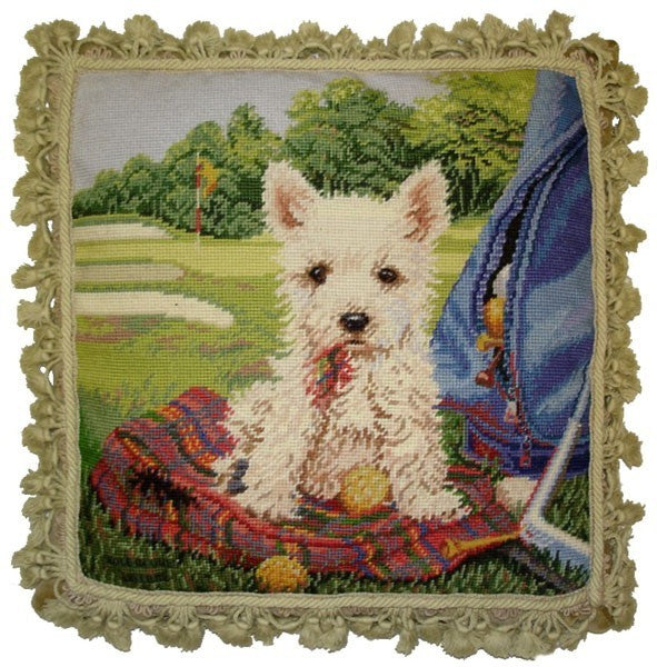 "Golf Dog - 18 x 18 "" needlepoint pillow"