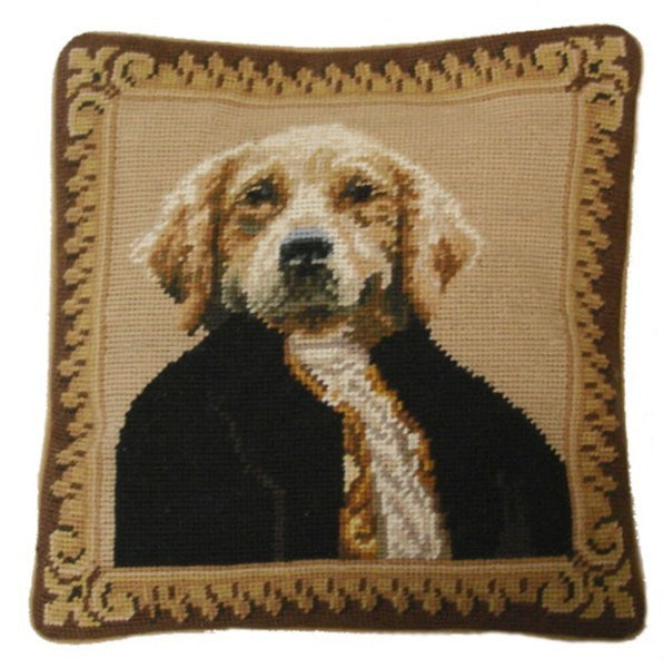 "Dog in Suit - 12 x 12 "" needlepoint pillow"