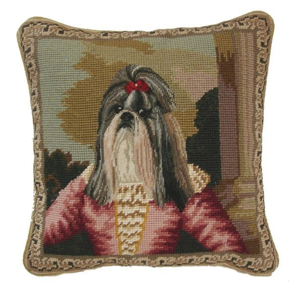 "Fancy Dog - 12 x 12 "" needlepoint pillow"