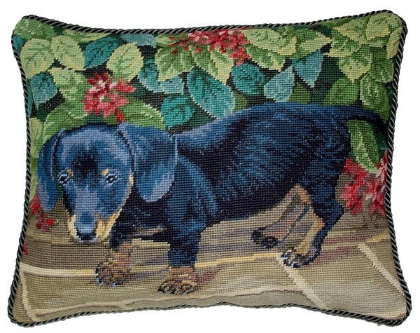"Dog and Flower - 14 x 18 "" needlepoint pillow"